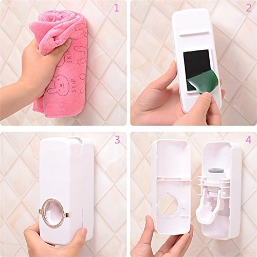 Shop4All Automatic Toothpaste Dispenser and 5 Toothbrush Holder