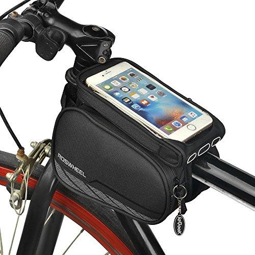 Radfahren Rahmen Handy Tasche, Bike vorne Top Tube Touchscreen Paar Satteltasche Rack Mountain Road Fahrrad Pack Doppel Tasche Halterung Handy Fall für 14,5cm Smartphone (Typ 1) (Frauen Dirt Bikes)
