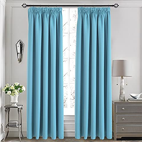 Thermal Insulated Pencil Pleat Curtains - Aquazolax Pair of Decorative