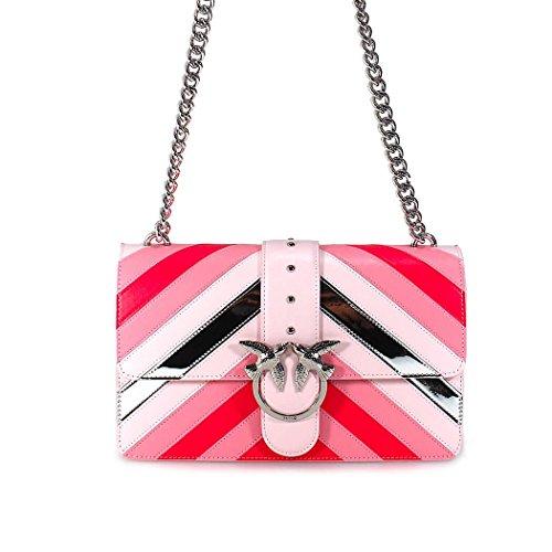 PINKO Damen Accessoires Disposition Bag Tasche Rosa Silber Leder Streifen Spring Summer 2018