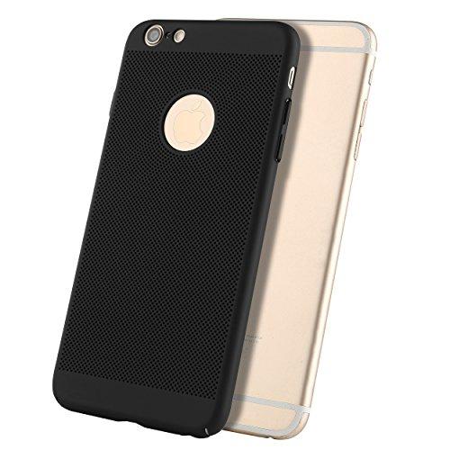 Liamoo® Apple iPhone 6 / 6s Plus Hülle / Case / Schutzhülle aus Kunststoff gelocht mit Logoausschnitt in schwarz