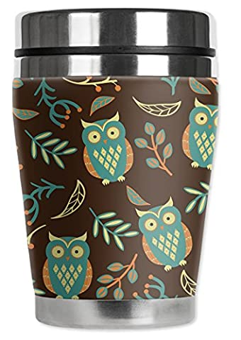 Mugzie® brand 16-Ounce To Go Tumbler with Insulated Wetsuit Cover - Brown Owls