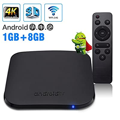 Android TV Box, Newest M8S PLUS W Android 7.1.2 smart tv box, Amlogic S905W Quad-Core 64bits A53 Processor, 1GB DDR3 8GB ROM, 2.4GHz Wifi, H.265 video decoding