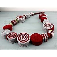 Collana artigianale in feltro grigio e rosso - perle in vetro artistico lavorate a lume