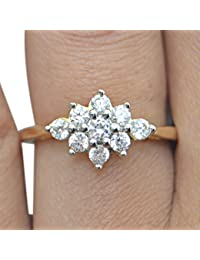 Silver Dew Pure 925 Sterling Silver 14K Yellow Gold Plated Cluster Ring Special Valentine`s Day For Lovely Lady...