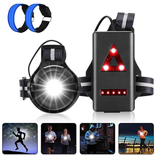 LED Lauflicht,Super Hell Brust Licht,Wiederaufladbare USB Wasserdicht Leicht Sport Lauflamp,90° Einstellbarer Abstrahlwinke Reflektierende Brustgurt,Für Laufen Joggen Angeln Camping Radfahren