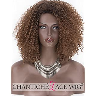 Chantiche U-Shape Afo Brown Lace Wigs for Women,Kinky Curly Bob Synthetic Wig Fiber Hair 18 Inch