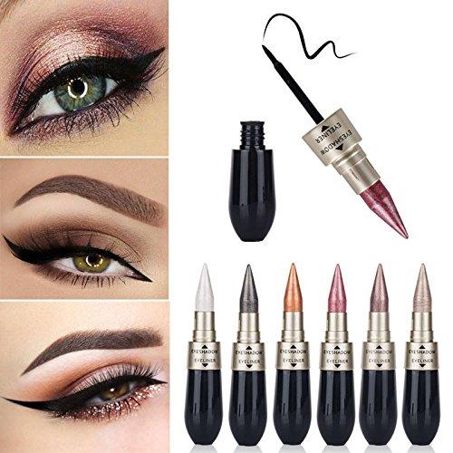 sombras de ojos brillantes, AIMEE7 Combinación delineador de ojos Liquid ShadowShadow de dos extremos a prueba de agua Fácil de usar maquillaje (F)