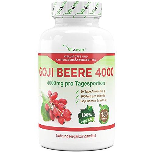 Goji Beere Berry 4000, 180 Tabletten, Hochdosiert 2000 mg Goji Beeren Pulver pro Tablette, Goji Beeren Extrakt 4:1, Wolfsbeere Premium Qualität Vit4ever