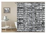 Amody 3D-Digitaldruck Mountain Duschvorhang Bad Vorhang Durable Wasserdichte Bad Vorhang Grau Größe165X180