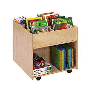 Unbekannt Flexeo 85622 - Bücherregal Buchmobil Holz auf Rollen 58,5 x 60 x 60 cm - Kinder-Buchbox mobil Bücher-Box aufbewahren