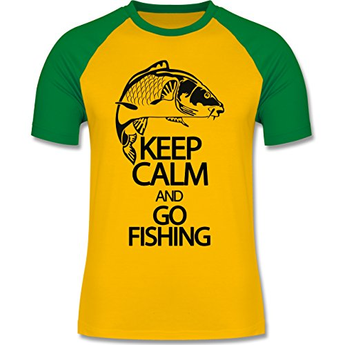 Angeln - Keep calm and go Fishing - zweifarbiges Baseballshirt für Männer Gelb/Grün