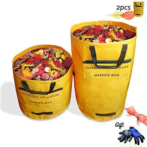 *OMIYA Faltbare 2 Stück große Gartenabfallsäcke, wasserdichte Müllsäcke mit Griffen und EIN Paar Handschuhe für die Reinigung von Gartengrasblättern (272L,150L-Gelb)*