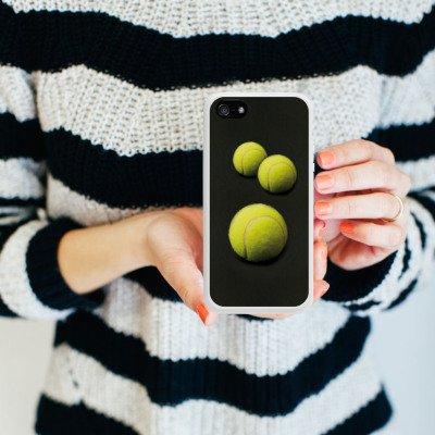 Apple iPhone 5 Housse étui coque protection Tennis Ballons Ballons Housse en silicone blanc