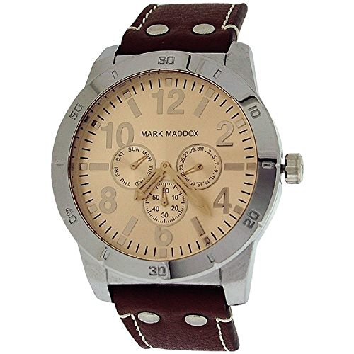 Mark Maddox Gents Multifunction Champagne Dial & Brown PU Strap Watch HC3008-45