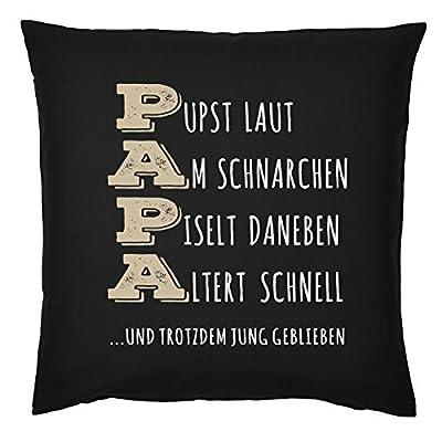 Kissen für Väter cooles Kissen mit Füllung und Urkunde Papa Pust Schnarchen…. Geschenk für Papa zum Vatertag Weihnachten Geburtstag von Mega-Shirt auf Gartenmöbel von Du und Dein Garten