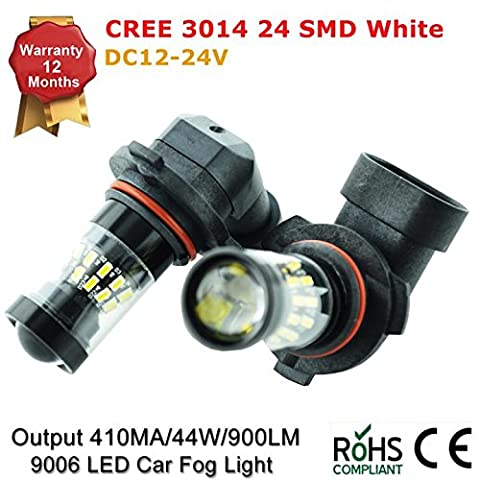 Extremely Bright 9006 HB4 44W 900LM 3014 Chipsets 24SMD Cree LED Bulbs with Projector for DRL or Fog Lights, Xenon White (Pack of 2)