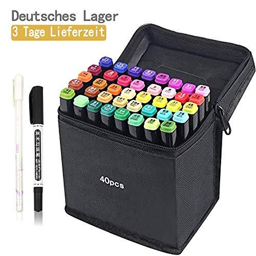 tongfushop 40 Farbige Graffiti Stift Fettige Mark Farben Marker Set,Twin Tip Textmarker Graffiti Pens für Sketch Marker Stifte Set Mit (Deutsche Lieferung) (40 Schwarz) -