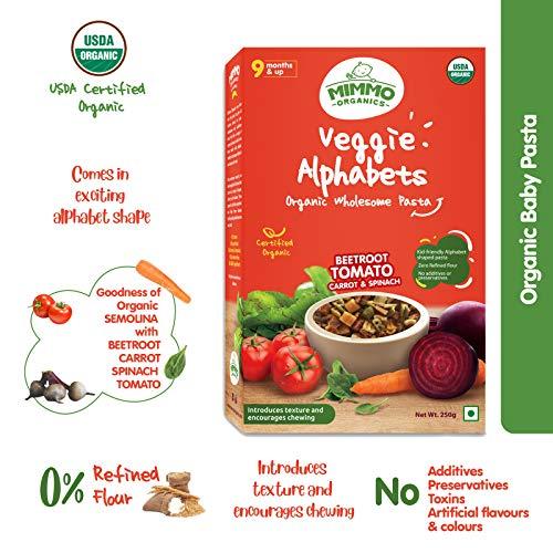 Mimmo Organics Veggie Alphabet Baby Pasta , 9Months & Up , 100% Organic Baby Food , Organic Semolina, Spinach, Beetroot, Tomato- & Carrot , Baby Snack - 250g