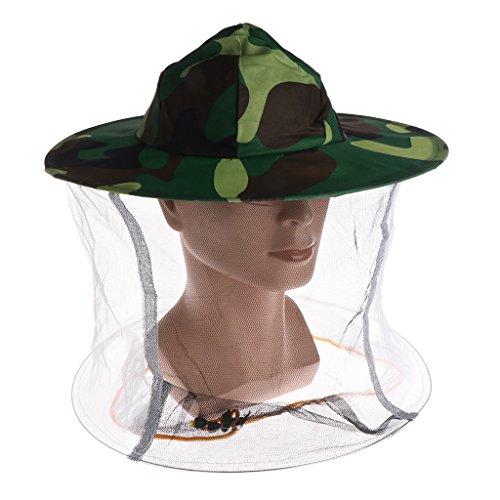 Longsw Hut Apicultur, Camouflage Net Kopfschutz für Gesicht Cap Insect Camping Outdoor Outdoor -