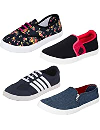 Bersache Women Combo Pack of 4 Casual Sneaker Shoes with Loafer & Maccosins Shoe