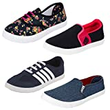 #9: Bersache Women Combo Pack of 4 Casual Sneaker Shoes With Loafer & Maccosins Shoe