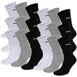 18 Paar Puma Sportsocken Tennis Socken Gr. 35 - 49 Unisex für sie und ihn, Farbe:325 - white/grey/black, Socken & Strümpfe:47-49