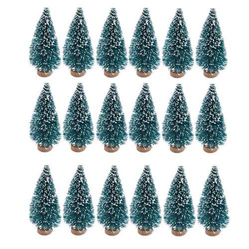 24 stücke künstliche mini weihnachten sisal schnee frost bäume mit holz basis flasche pinsel bäume kunststoff winter schnee ornamente tischplatte bäume für weihnachtsfeier dekoration (blau grün)