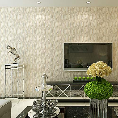 Gold Leaf Wallpaper (HHKX100822 Tapete 3D Embossed Leaf Curve Modern Striped Sofa Tv Wall Decor Grey and White Gold Luxury Wall Paper Rolls 5.3/. B)