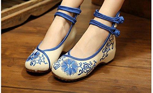 &qq Tradizionale cinese stile/donna/alto vento / / scarpe ricamato scarpe/popoli/primavera/estate/autunno/elegante Sky Blue
