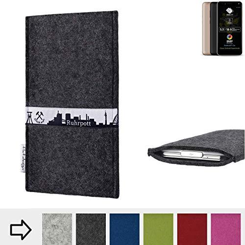 flat.design für Allview A9 Plus Schutzhülle Handy Tasche Skyline mit Webband Ruhrpott - Maßanfertigung der Schutztasche Handy Hülle aus 100% Wollfilz (anthrazit) für Allview A9 Plus