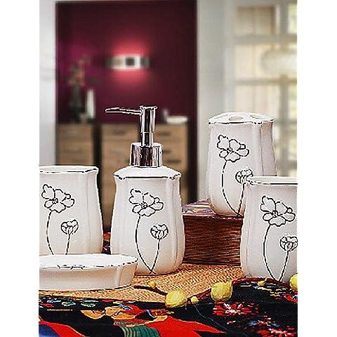Ensemble di bagno,5 pezzo di ceramica viola bordo d'argento,bagno Set