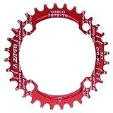 Sharplace Fahrrad Rennrad Single Speed Kettenblatt 32T,34T,36T,4 Schrauben Schwarz - Rot