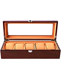Watch Box Wooden 5 Slots Watch Case Jewelry Display Storage Boxes with Glass Top and Removal Storage Pillows Gift box for Men Women Birthday Valentine's Day Father's day- Brown