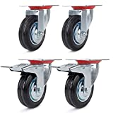 Forever Speed 4 ruedas con freno para transporte de cargas pesadas, 85 / 100 / 125 / 160 mm, color negro