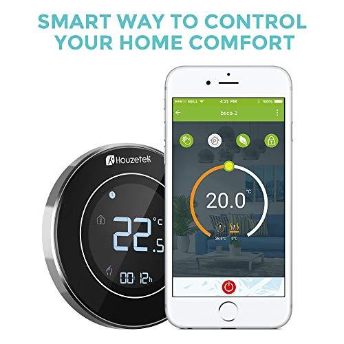 Termostato Wifi,  Houzetek Termostato Inteligente Programable con cable,  Termostato Clefacción Electronica Inalámbrico Apoyo Alexa,  Google Home IFTTT Bajo Consumo (¡No apto para calentar agua y gas!)