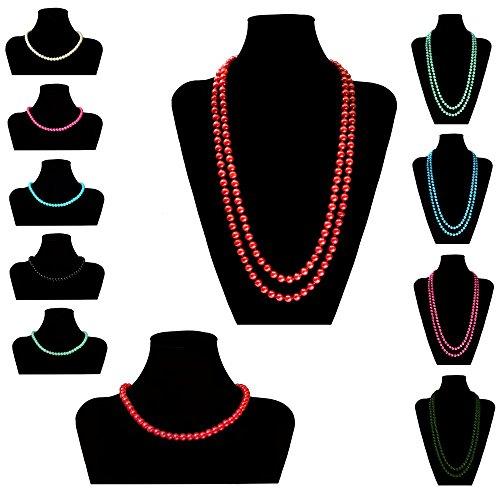 A Soul-Cats® douce chaîne collier de perles perles de couleurs à court bleu-crème rose XXl noir
