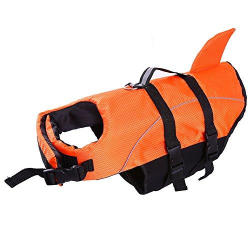 QBLEEV Schwimmweste für Hunde, Größe XL, Schwimmweste für Welpen, schwimmfähig, schwimmfähig, mit reflektierenden Riemen, XXL, orange 1 - Badeanzug Größe Charts