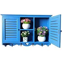 hukoer muebles armarios de armario de pared para cocina cuarto de baño para colgar, barra para colgar armario de almacenamiento soporte de utensilios de cocina montado en la pared (azul)