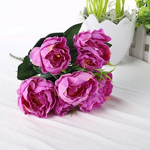 Soledì- 1 Mazzo di Peonia Fiori Artificiali Bouquet Decorazione per Cerimonia Matrimonio E Casa (Viola)