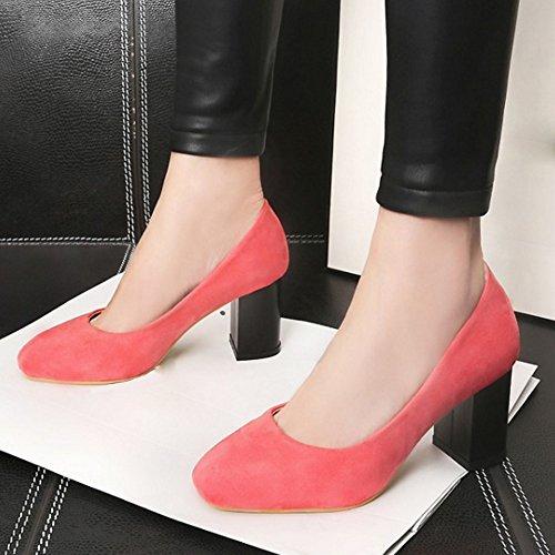 TAOFFEN Femmes Escarpins Confortable Bloc Talons Moyen A Enfiler Chaussures Rose
