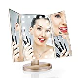 Easehold Lighted Makeup Mirror,Touch Screen LED Table Makeup Mirror -Three Panel 21pcs Led Light Tabletop Cosmetic Mirror with USB Cable,2X and 3X Magnificatio (Champagne Gold)