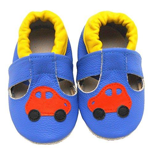 Sayoyo Wagen WeichesLeder Lauflernschuhe Krabbelschuhe Babyschuhe Blau