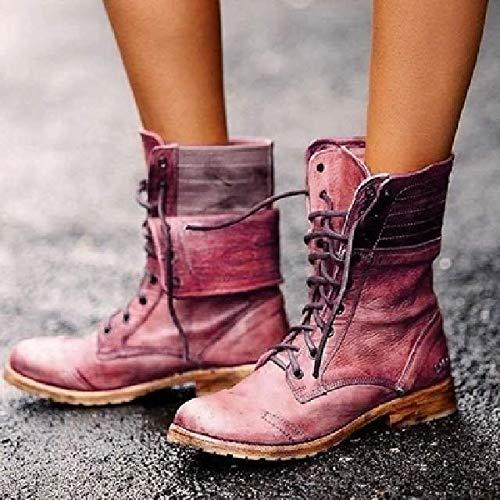 QPDUBB Stivaletti Stivali da Moto Invernali Stringati Stivali da Donna Stile Britannico Stivali da Donna Punk Gotici con Tacco Basso Scarpa da Donna Taglie Fort