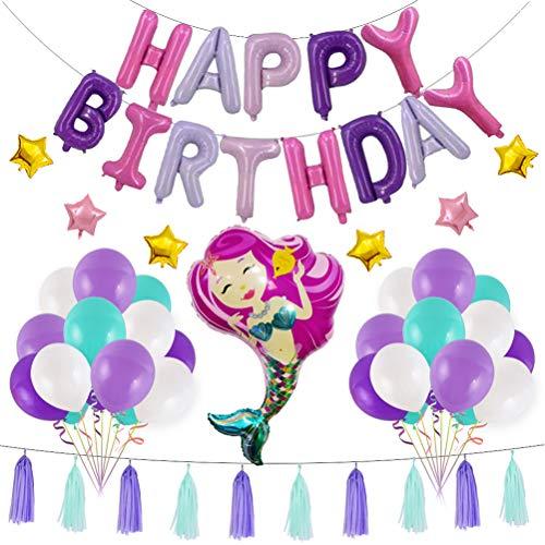 BESTOYARD Meerjungfrau Thema Geburtstag Dekorationen Partyfolie Latex Ballons Quasten (rosa Meerjungfrau)