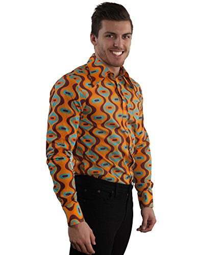 70er Retro Muster Party Hemd Drops türkis Orange Braun Türkis