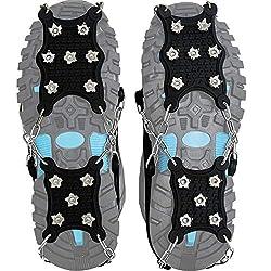 Steigeisen Schuhspikes mit 12 Noppen,Das einzig Innovative Design bei Amazon,Ice Klampen,Eisspikes für Den Stiefel,Schuhkralle.(Large)