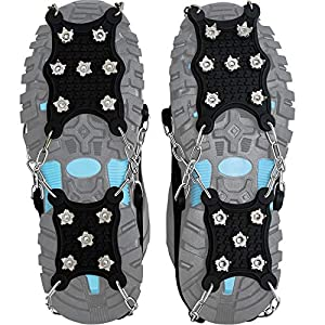 Steigeisen Schuhspikes mit 12 Noppen,Das einzig Innovative Design bei Amazon,Ice Klampen,Eisspikes für Den Stiefel,Schuhkralle.