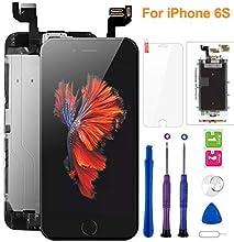 """FLYLINKTECH Display per iPhone 6S Schermo Nero Vetro 4,7"""" LCD Touch Screen Digitizer Parti di Ricambio (con Home Pulsante, Fotocamera, Sensore Flex) Kit Smontaggio trasformazione Completo di Ricambio"""