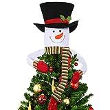 Tenrany Home Topper Albero di Pupazzo di Neve Albero di Natale, Puntale per Albero di Natale Snowman Top Hat Hugger per Natalizie per Albero Decorazioni (Verde)